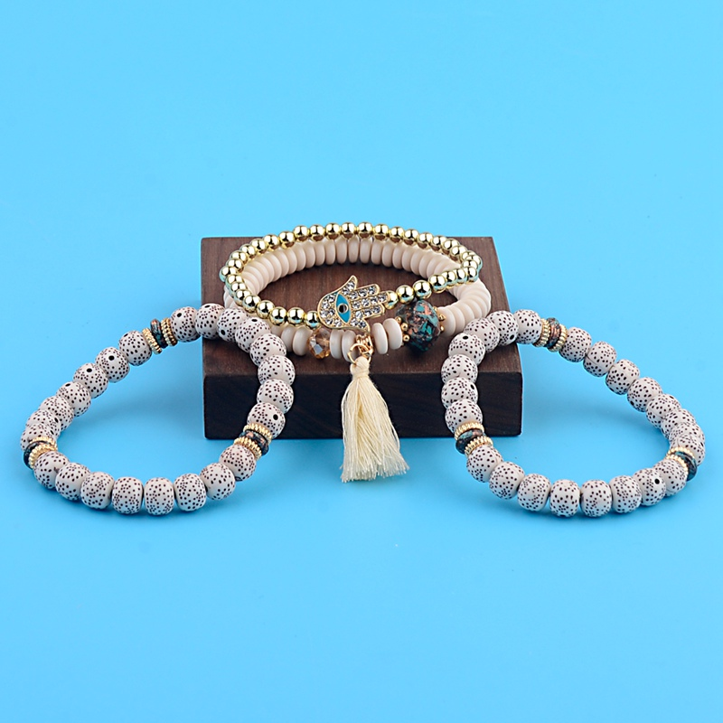 OIQUEI Vintage 4Pcs/Lot Women Bracelets Set Bohemia Charm CZ Hand Natural Stone Beads Tassel Pendents Bracelets Pour Les Femmes 3