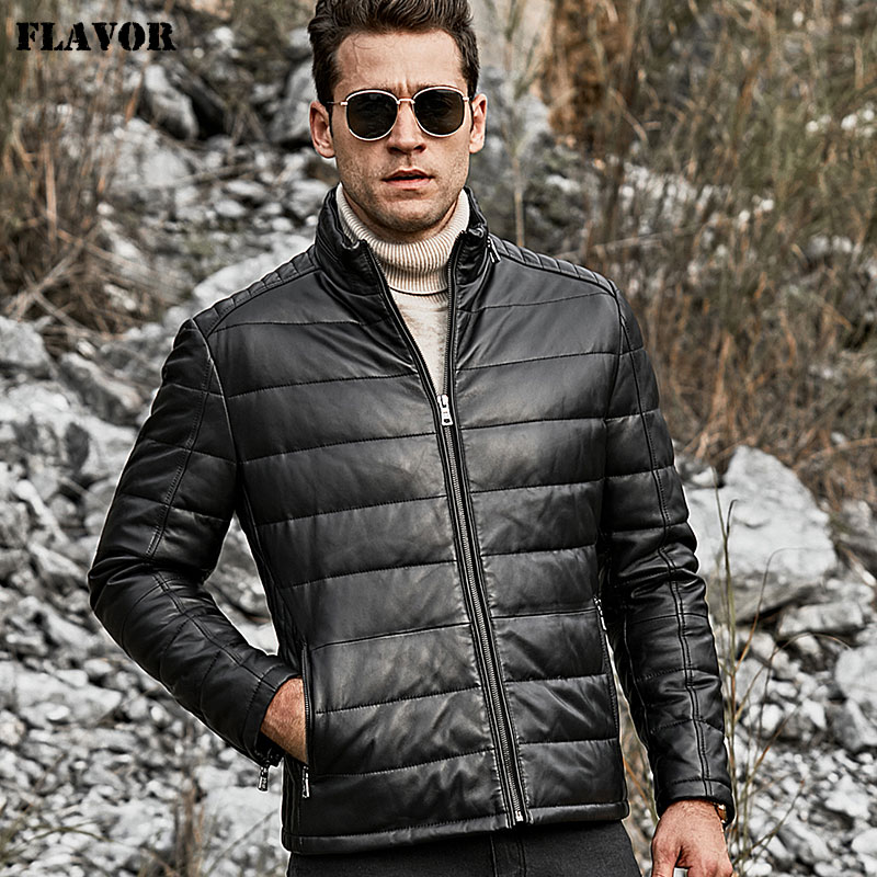FLAVOR Men's Lambskin Genuine Leather Down Jacket Men Standing Collar Warm White Duck Down Coat