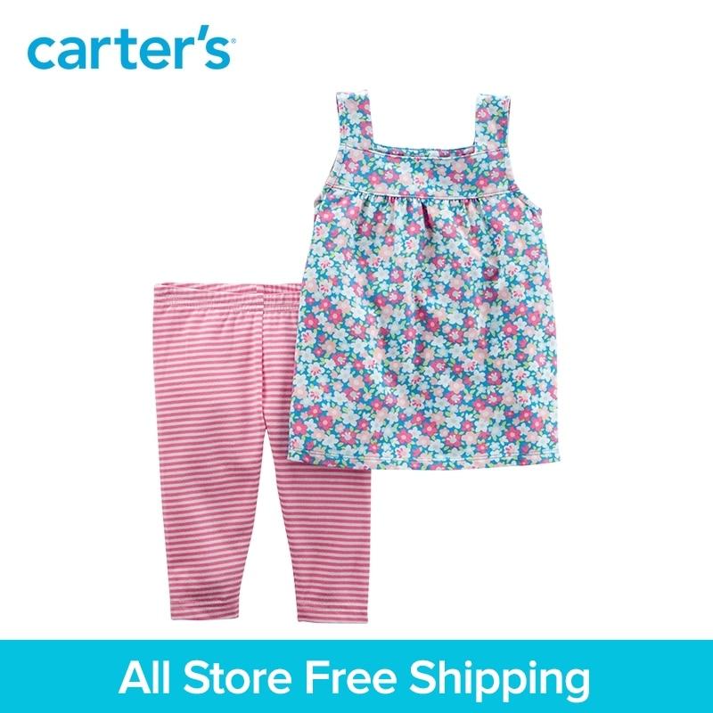 Carter's 2-Piece baby children kids clothing Girl Summer Floral Tie Shoulder Top & Striped Capri Legging Set 239G672/259G669 striped floral front tie crop top