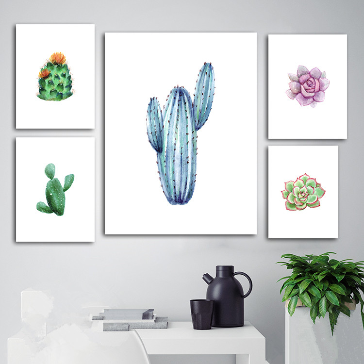 Succulent Original Watercolor Canvas Wall Painting Modern