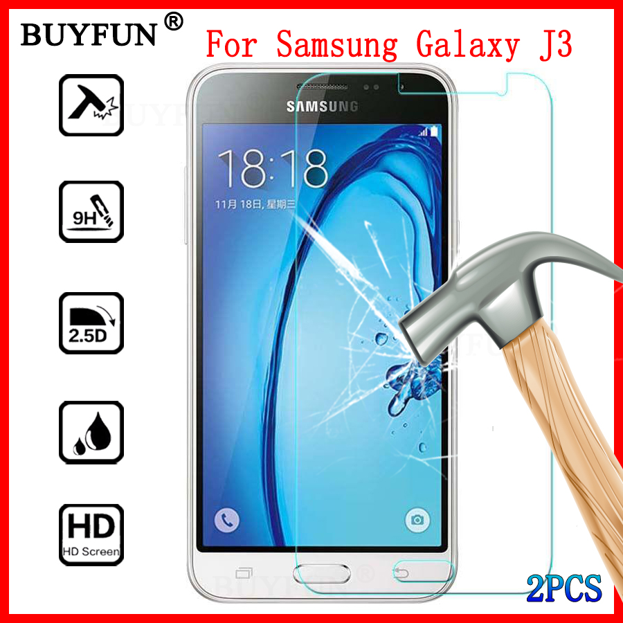 Galleria fotografica 2PCS For Samsung Galaxy J3 2016 Phone Film Screen Protector Tempered Glass For Samsung Galaxy J3 2016 Glass J320 J 3 2016 Films