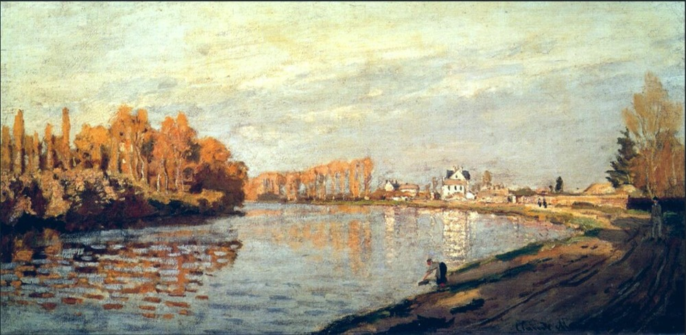High quality Oil painting Canvas Reproductions The Seine near Bougival (1872)  By Claude Monet hand paintedHigh quality Oil painting Canvas Reproductions The Seine near Bougival (1872)  By Claude Monet hand painted