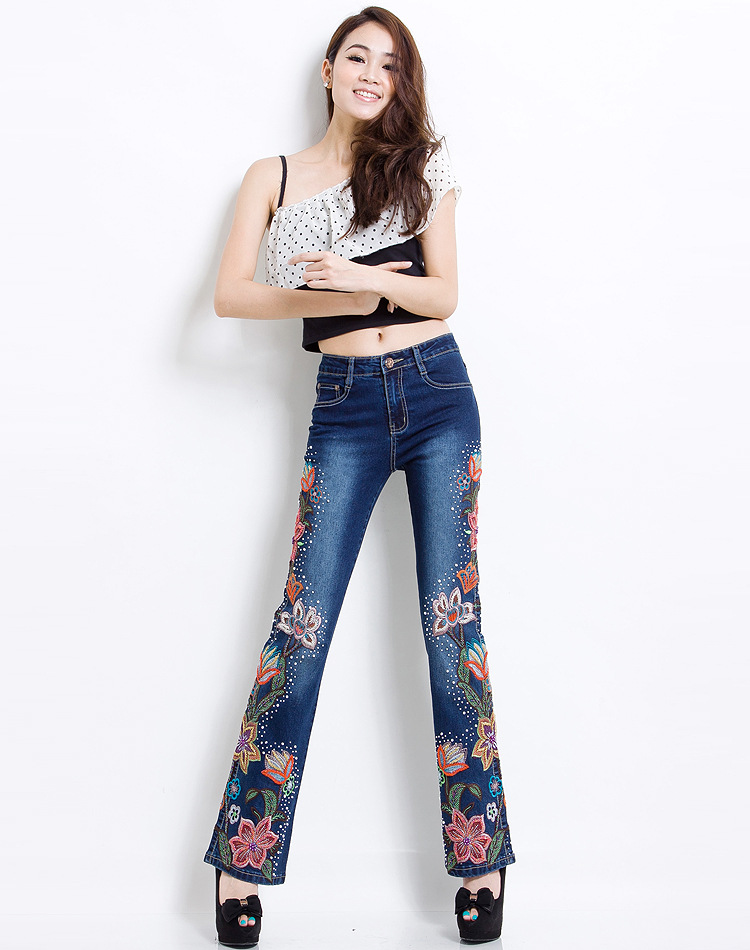 Women Embroidered Beaded Jeans Rhinestone Bell Bottom Flared Pants Elasticity Luxury Sexy Ladies High Waist Push Up Female Jeans 12