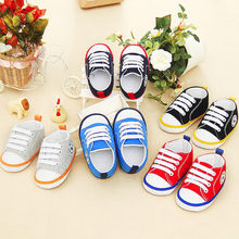Newborn Infant Baby Shoes Autuam Baby Boy Girl Lace-up Sneaker Football Print Sneaker Anti-slip Soft Sole Toddler Canvas Shoes(China)
