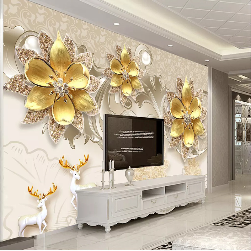 Papel De Parede Luxury European Jewelry Flower Photo Wallpaper Mural For Living Room Bedroom Wall Backdrop 3D Wall Cloth Tapety