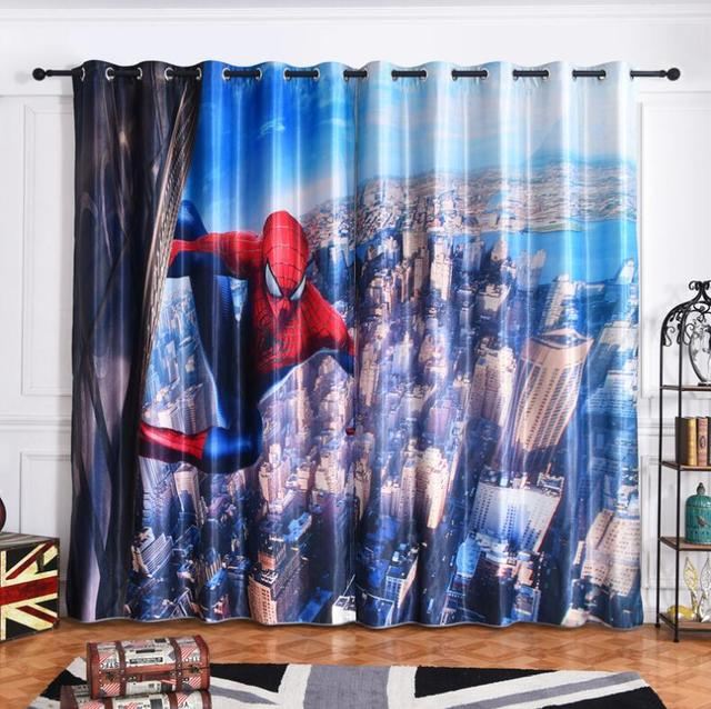 NEW Modern Spiderman Fabric Cartoon Blackout Curtains For Kids Room Printed  Curtain For Boys Bedroom Window Treatment Bedroom