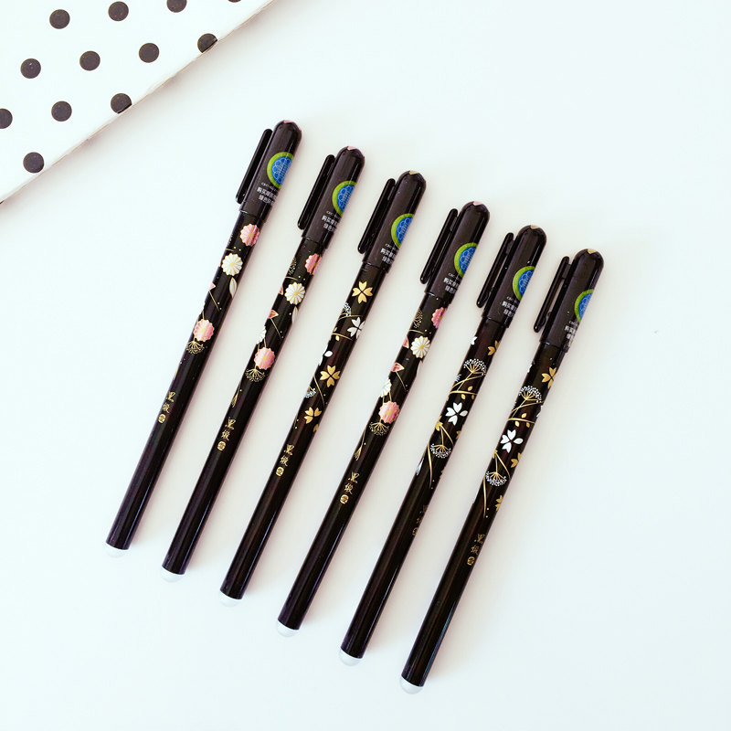 N32 2X Simple Fresh Black Handle Elegant Flower Erasable Gel Pen Writing Signing Pen Student Stationery School Office Supply