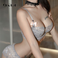 Fashion Sexy Bra Sets Plus Size C D Cup Thin Cotton Underwear Women Set Lace Gray