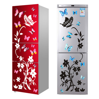 Creative Butterfly Refrigerator Sticker Home Decoration Kitchen Mural DIY Wall Stickers Party Sticker Kids Room Wallpaper room decoration flower rattan butterfly pattern wall sticker