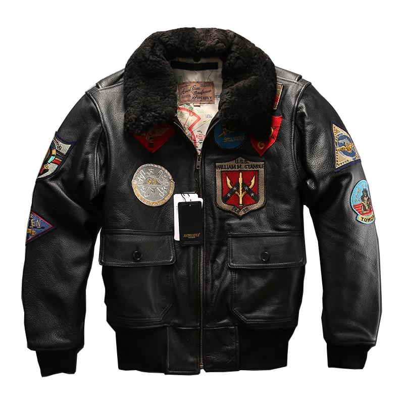 Europeo di grande formato air force G1 pilota caldo collo di pelliccia giacca di pelle cappotto di cuoio genuino della mucca pelle bovina spessa giacca pilota