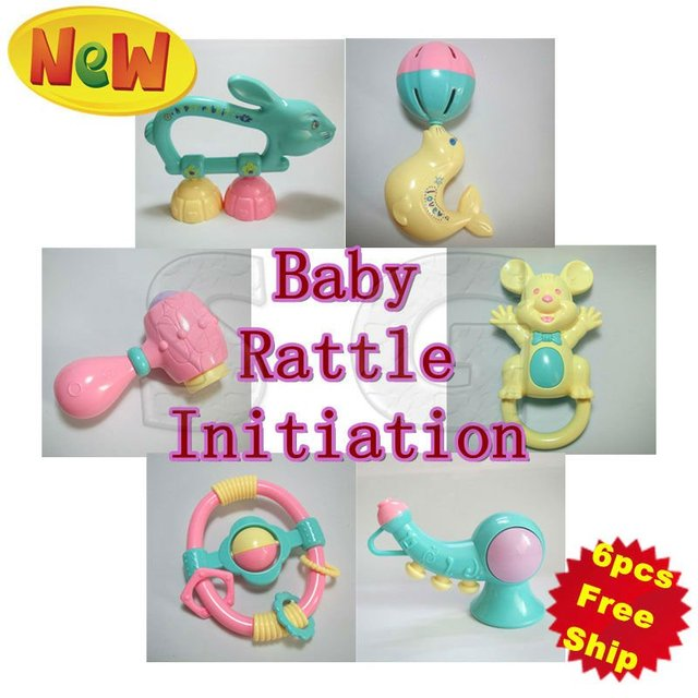 Free shipping! 6pcs/lot, 6style, Eco-friendly Baby rattle set, Mini ring bell suit, Lovely Cartoon infant toys, Cute baby gift