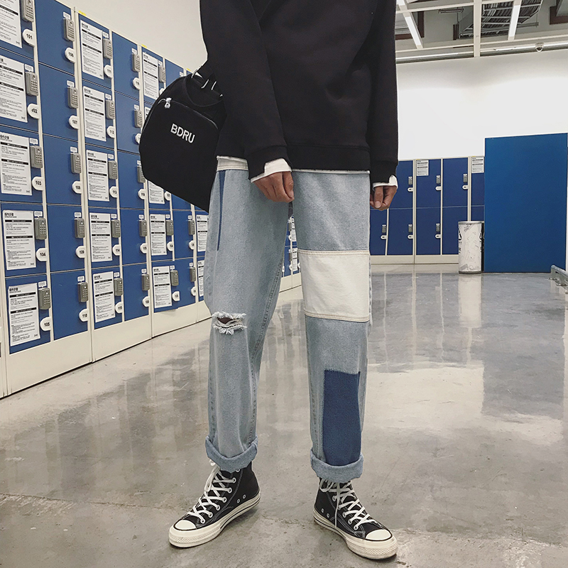 2018 Mens Fashion Brand Light Blue Classic Loose Holes Jeans Casual Straight Pants Cowboy Baggy Biker Denim Trousers Size S-XL