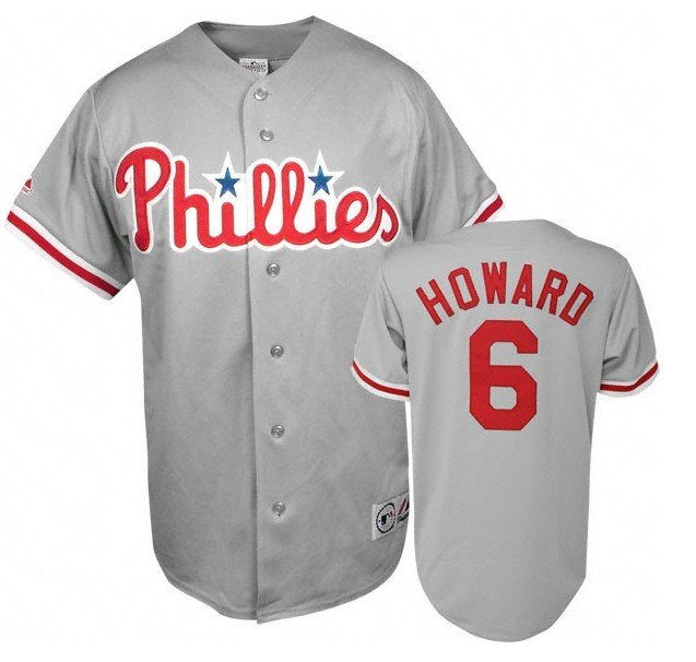 Philadelphia Phillies Howard  6 Grey Away Jersey-in Baseball Jerseys ... 92e8ffc063f