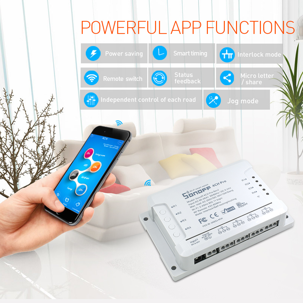 Itead Sonoff 4CH Pro R2 433mhz 4 Channels Gang RF Wireless Remote Wifi Smart Switch Inching Interlock Relay Alexa Google Home