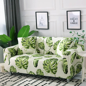 Image 4 - Nordic Leaf Pattern Sofa Cover Cotton Elastic Stretch Couch Cover  Universal Sofa Covers for Living Room Pets Single Home Decor