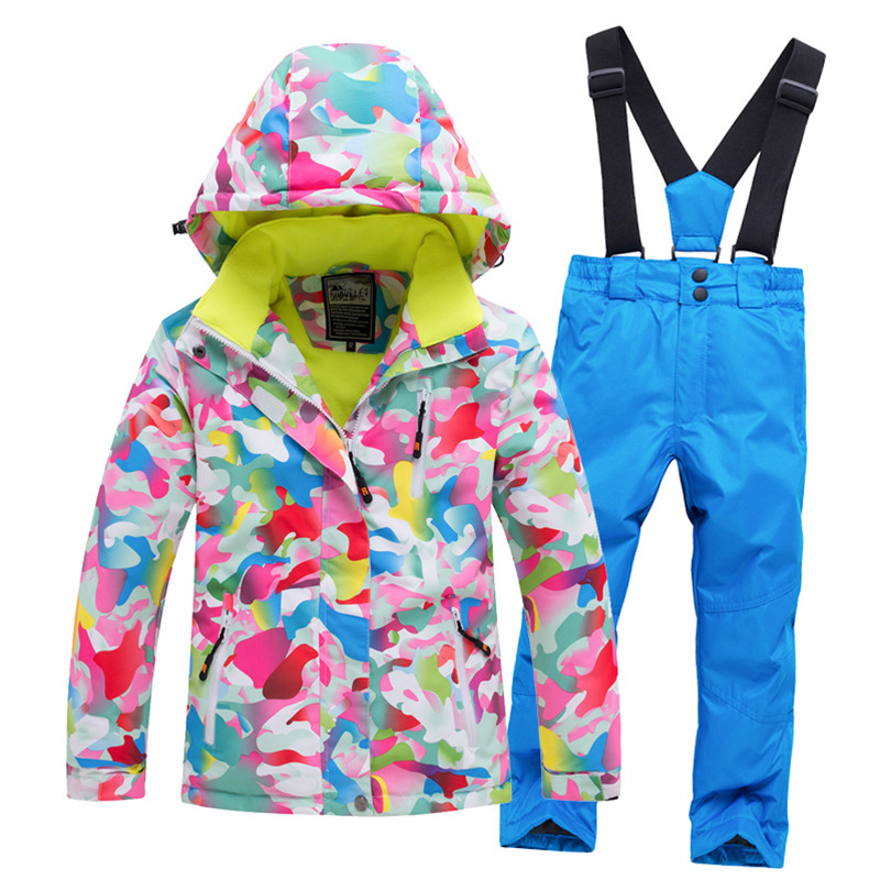 Snowboarding Clothing Outdoor Children Snow Suit Coats Ski Suit Sets Girl Boy Skiing Waterproof Thermal Winter Jacket + Pant