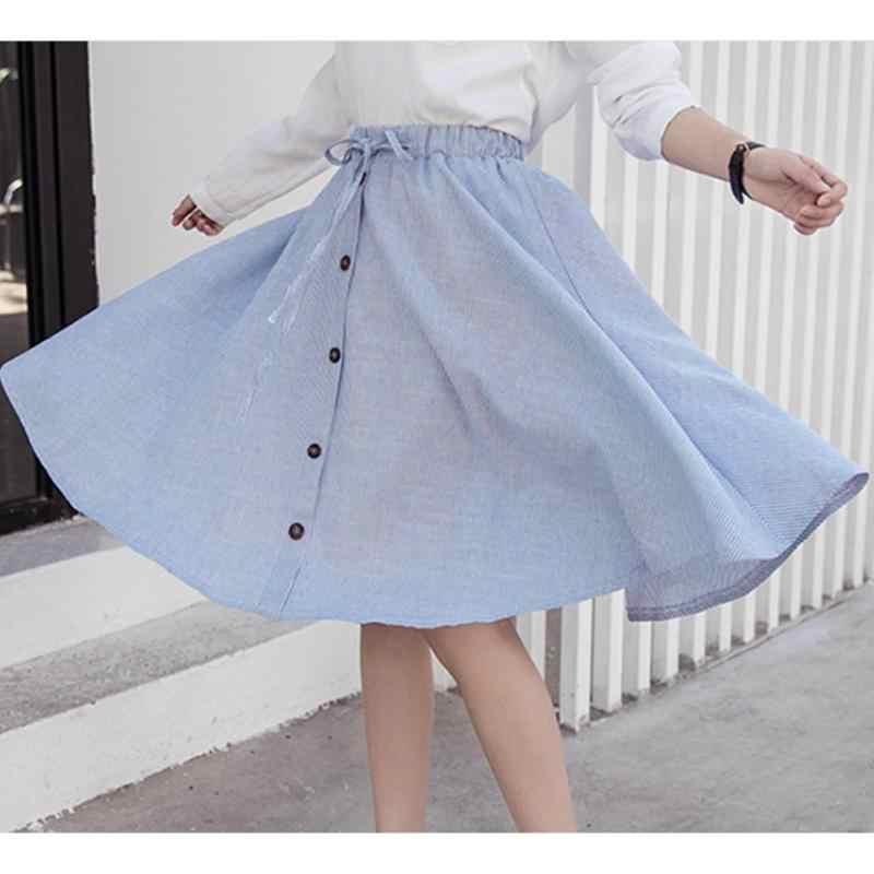 a9ba8fa4c ... Midi Skirt 2019 Summer Women Clothing High Waist Pleated A Line Skater  Vintage Casual Knee Length ...
