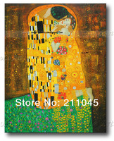 Free shipping home decor famous modern wall canvas art Klimt oil painting The Kiss