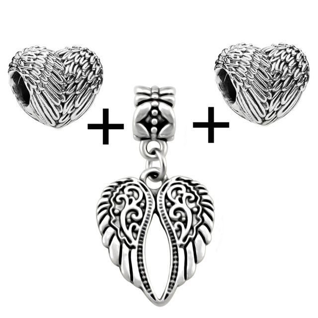 38c300f2b KING'S FAITH Silver Color Angelic Feathers Wings Beads And Pendant Fit  Pandora Charms Bead Bracelets DIY