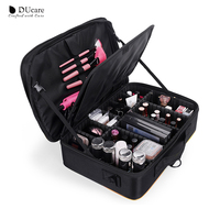 DUcare Cosmetic Bag Travel Makeup Pouch Professional Beauty Case Container Storage Big Cosmetic Organizer Large Portable Zipper