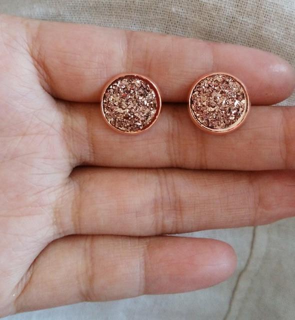 1 пара/лот Розовое Золото Druzy Серьги, искусственный Druzy Серьги Для Свадебных Подарков