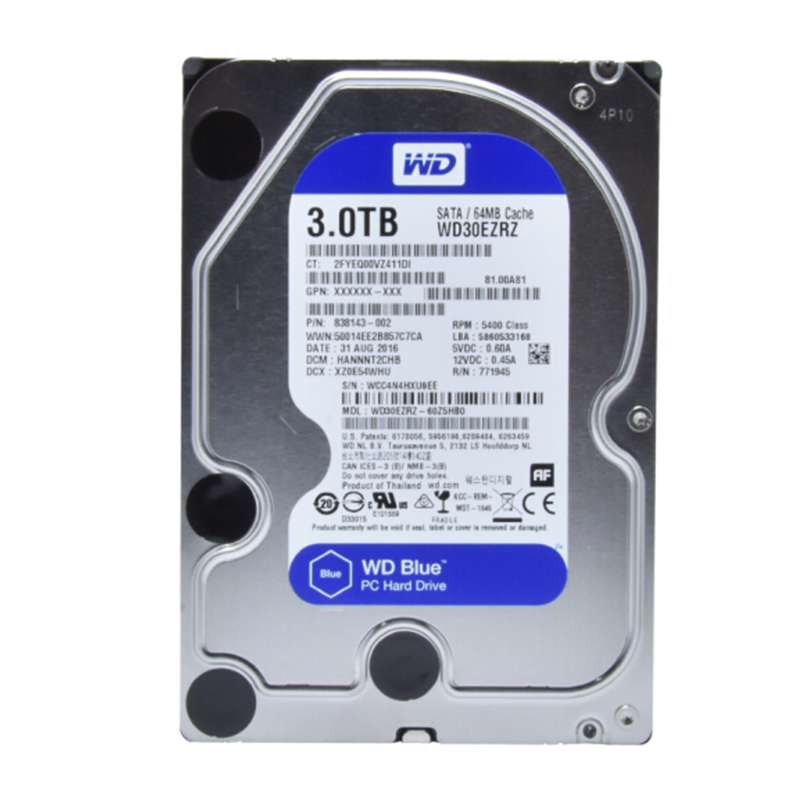 Western Digital WD Blue 3TB hdd sata 3.5 inch internal hard disk Desktop Internal HDD 5400 RPM SATA 6Gb/s Cache 64MB HDD DISK