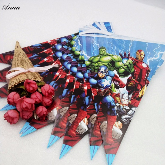 2.8m/set The Avengers Party Supplies Paper Banner Flag Kids Birthday Baby Shower Fovers & 2.8m/set The Avengers Party Supplies Paper Banner Flag Kids Birthday ...