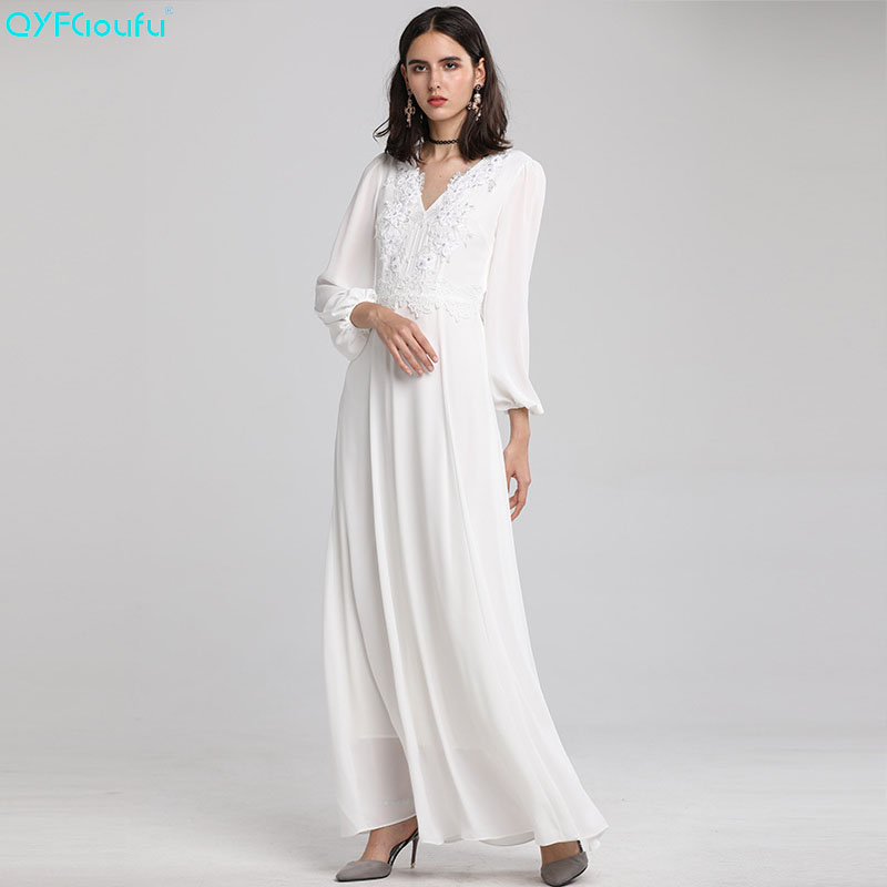 f77f4d1f591 ligne Arrivée Longues Robe Noir Blanc À blanc Automne Qyfcioufu Soirée Robes  Femmes Étage Longue Nouvelle ...