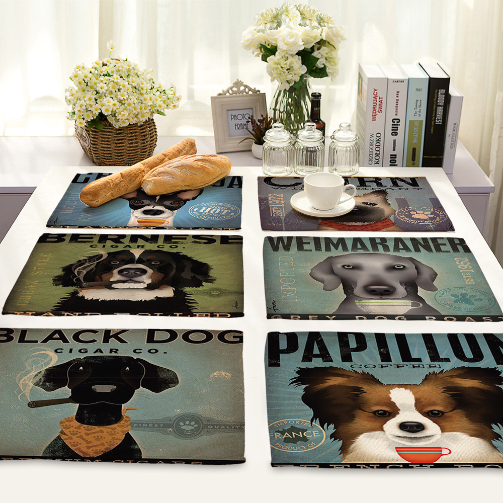Dining table accessories - Cammitever Lovely Dogs Kitchen Accessories Dining Table Mat Heat Insulation Non Slip Placemats Pads Bowl