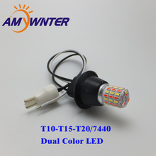 AMYWNTER 2018 New T20 7440 12V T10 W5W LED Light Dual Color Switchback Turn Signal Lamp Bulb Daytime Running Light DRL free shipping dual color amber white switchback 7440 t20 single filament 20 led projector lens parking drl turn signal light kit