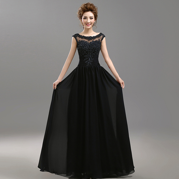 Aliexpress.com : Buy Robe De Soiree Black Lace Long Evening Dress ...