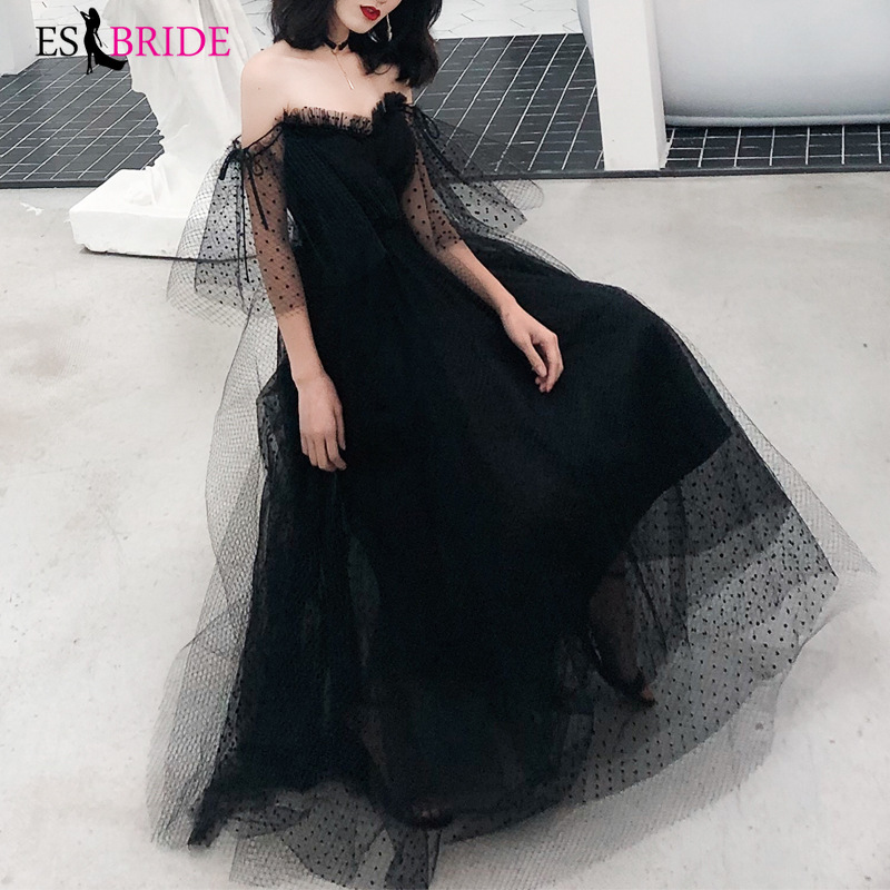 Black Simple Evening Gowns For Women Elegant Vestidos Elegantes Sexy Backless Evening Dresses 2019 New Evening Dress ES2480