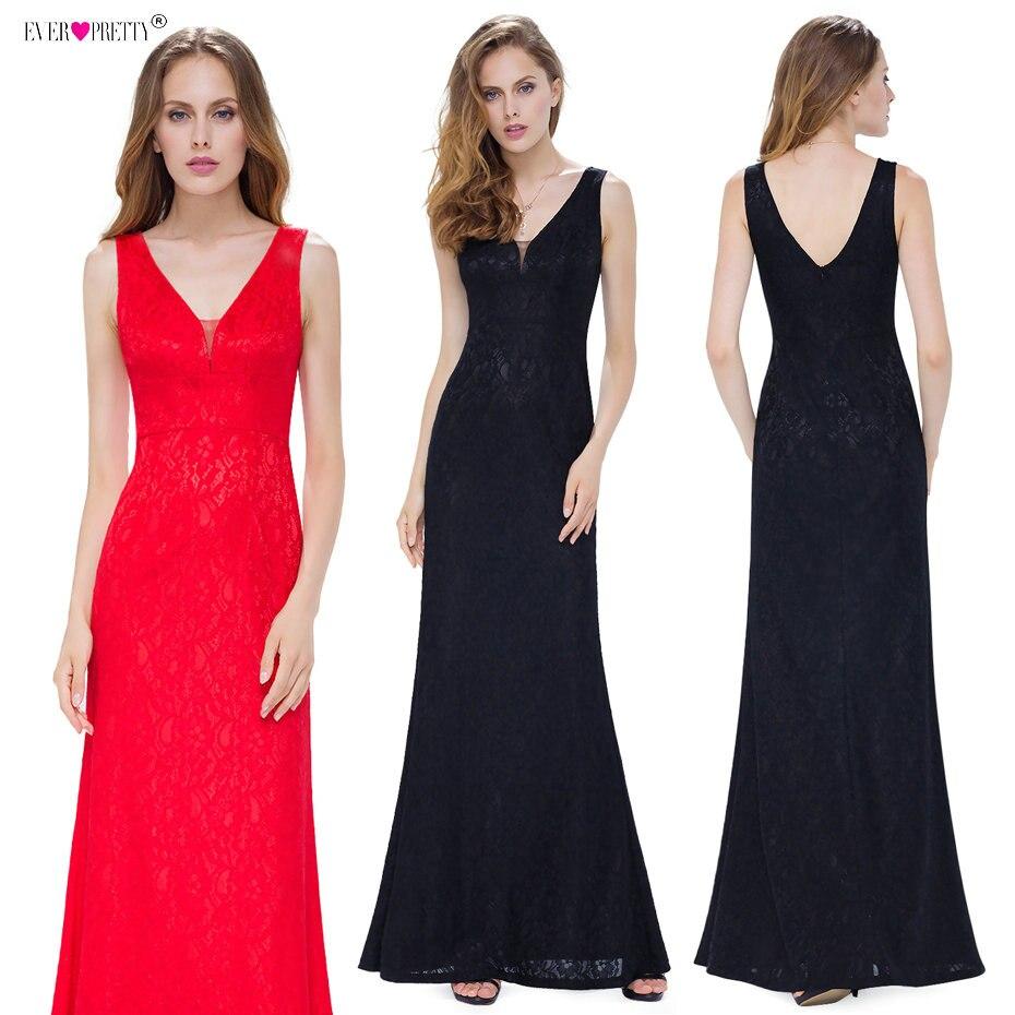 Ever красивые вечерние платья Длинные EP08917 элегантные черные красные дешевые v-образным вырезом сексуальные без рукавов 2018 плюс размер кружев...