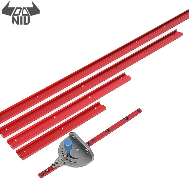 DANIU New 400-1200mm Red Aluminum Alloy 45 Type T-Track Woodworking T-slot Miter Track/Table Saw Router Miter Gauge