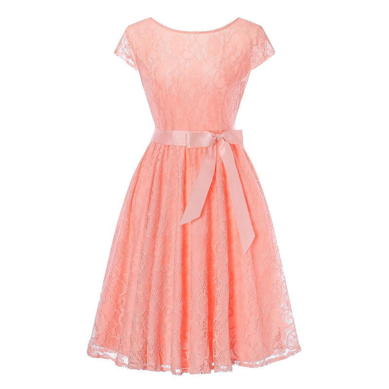 2019 New Lace And Fluffy Short Sleeves A Character Dresses Teenagers' Maid Bridesmaids And Pure Lace Dresses Vestidos 15~20Y
