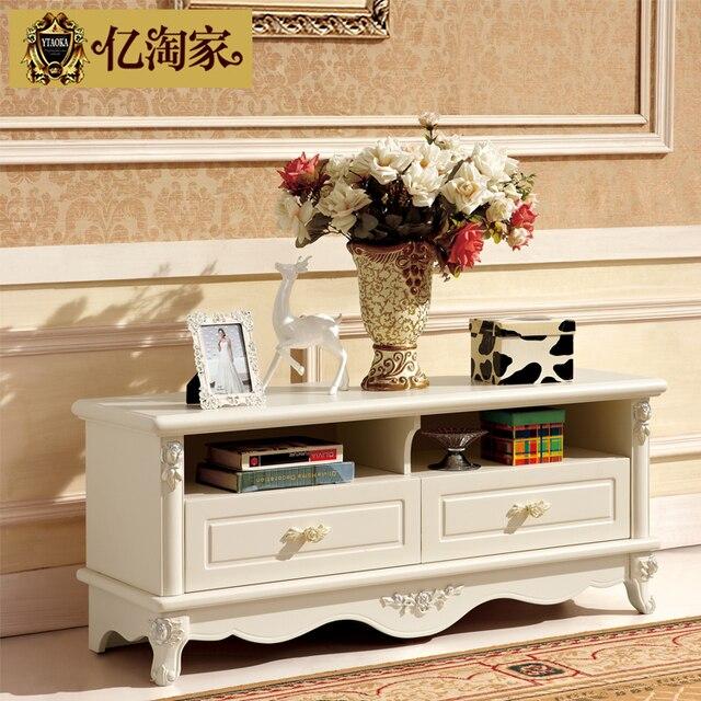 Madera maciza mueble tv gabinete blanco marfil francesa moda muebles ...