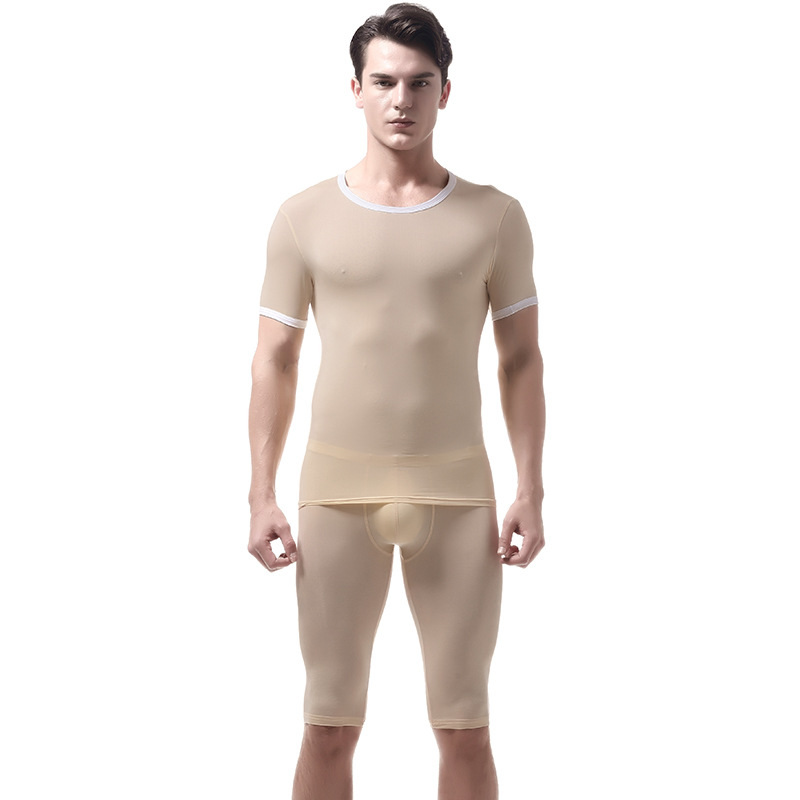 KWAN.Z Pajamas Underwear Mens Ice-Silk-Set Home-Clothes for Hombre Slim Sexy title=