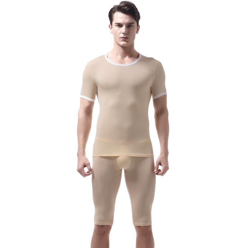 KWAN.Z Pajamas For Men Pijama Hombre Slim Ice Silk Set Mens Pyjama Home Clothes Men's Pajamas Underwear Mens Sexy Sleepwear