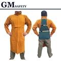 Sistema de la Ropa de Manga Larga de Cuero de Vaca de seguridad De Soldadura Delantal Protector Sobretodo para Los Hombres y Soldadores de Soldadura GM1011