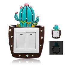 Cute Cartoon 3D Cactus Fluorescent Wall Silicone On-off Switch Stickers Kids Luminous Light Outlet Home Decorations