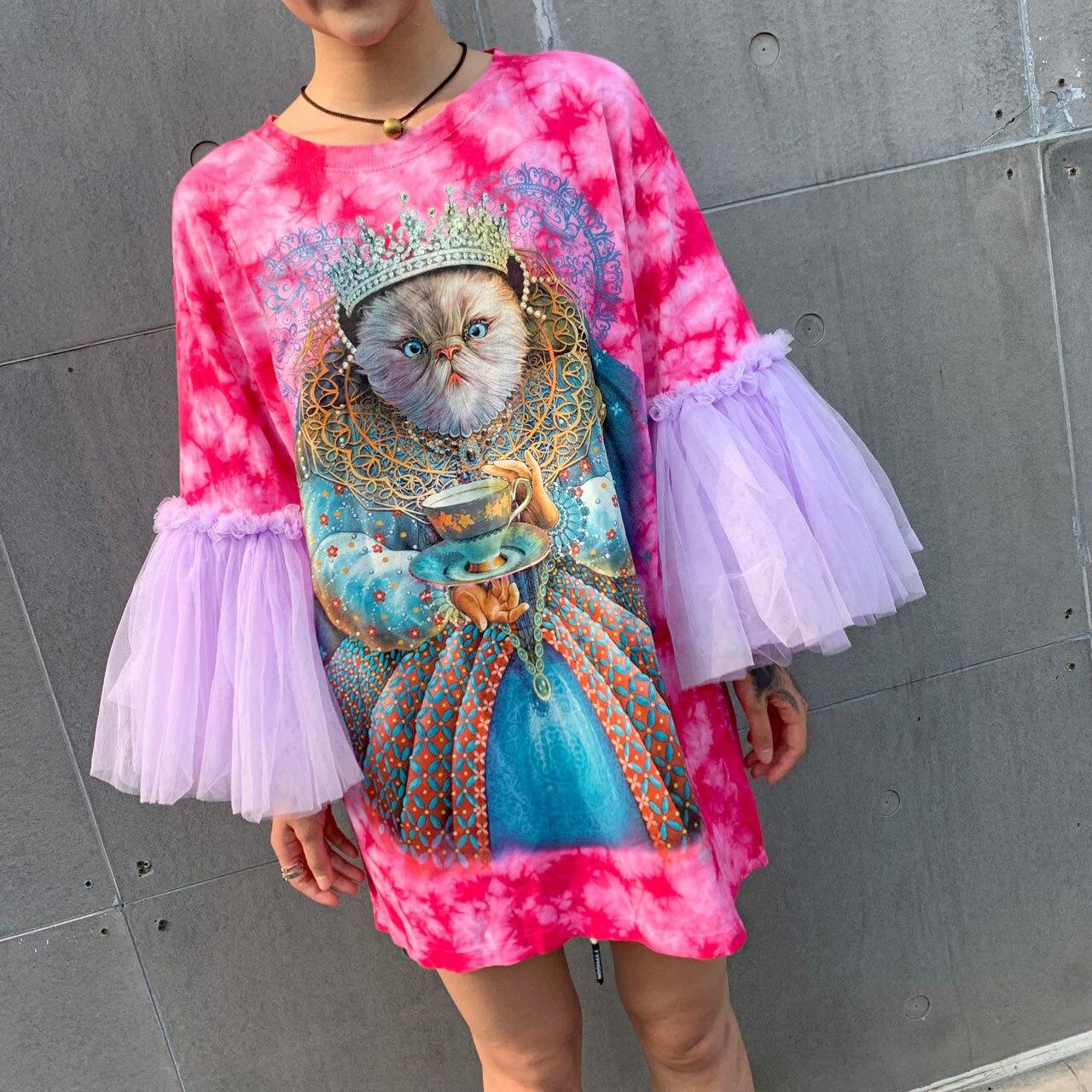 Thai Tide marque été femmes T-shirt 2019 été nouveau riche chat imprimé maille couture doux long femme T-shirt