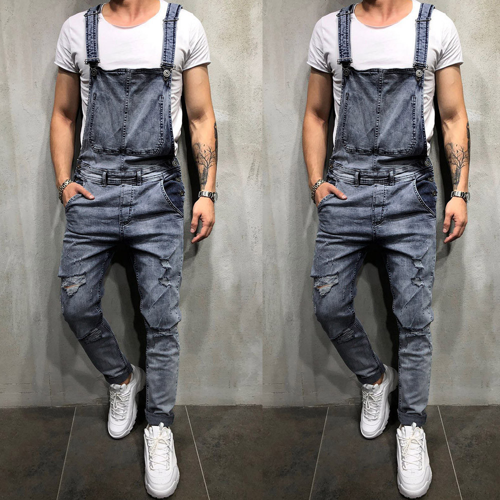 Laamei 2019 Brand Men Jeans Overalls Male Jeans Jumpsuit Summer Disstressed Denim Bib Overalls Fashion Jeans Suspender Pants Selling Well All Over The World Men's Clothing