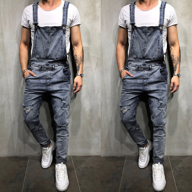 4ecb2d1789da 2019 Fashion Men s Ripped Jeans Jumpsuits Hip Hop Street Distressed Hole Denim  Bib Overalls For Man Suspender Pants Size M-XXL