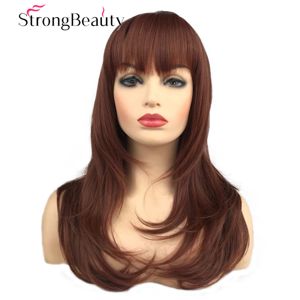 Strong Beauty Long Straight Wig Auburn Hair Neat Bang Hairstyle Women Synthetic Wigs