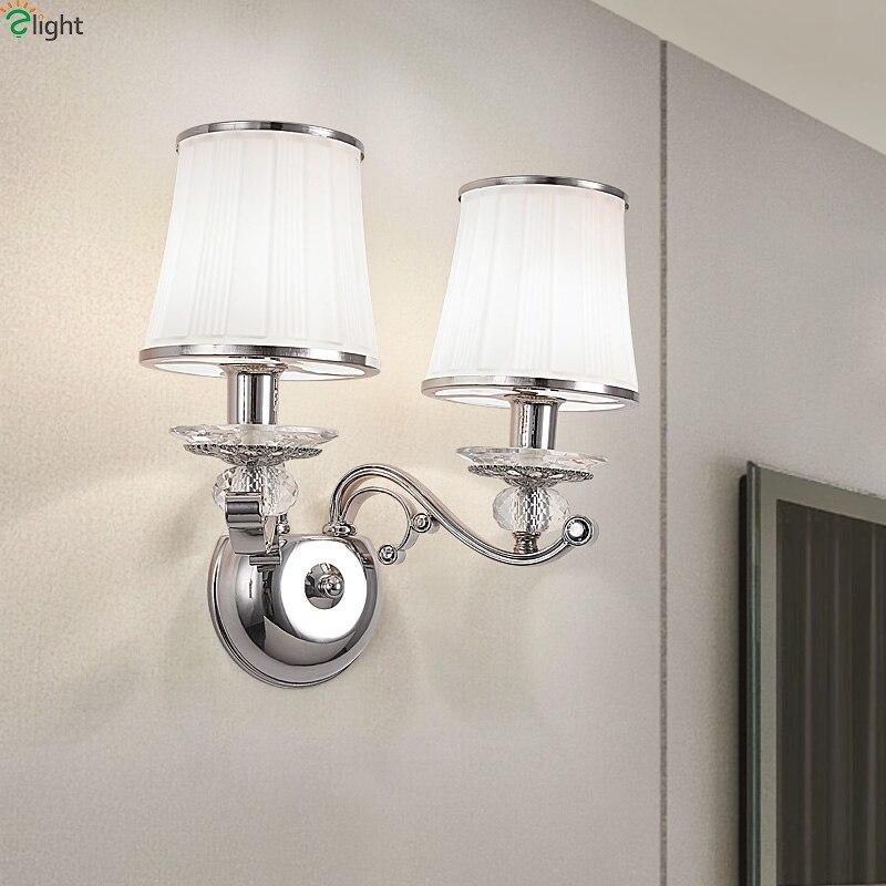 Modern Lustre Chrome Metal Led Wall Lights Crystal Bedroom Led Wall Lamp Living Room Led Wall Light Fixtures Glass Wall Sconce