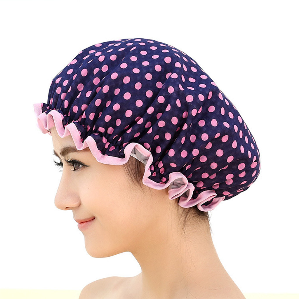 ISHOWTIENDA 2019 Women Shower Caps Colorful Bath Shower Hair Cover Adults Waterproof Bathing