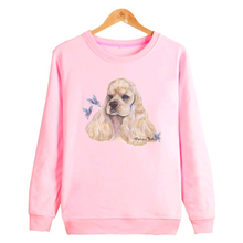 2017 Hot Cocker Spaniel Print Hoodies Women Butterfly Pink Women's Clothing survetement homme Fashion Sweatshirt Women 4XL