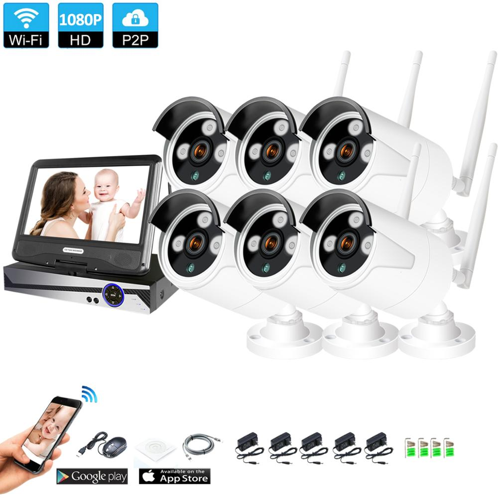 Wireless Surveillance System Network 10 1 LCD Monitor NVR Recorder Wifi Kit 4ch 6CH 8CH 1080P