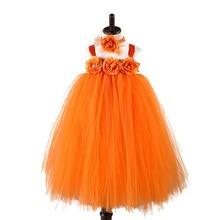 Orange Halloween Pumpkin Girl Dress Child Costume Ankle Length Flower Thanksgiving Tutu Girls Autumn Winter Clothes