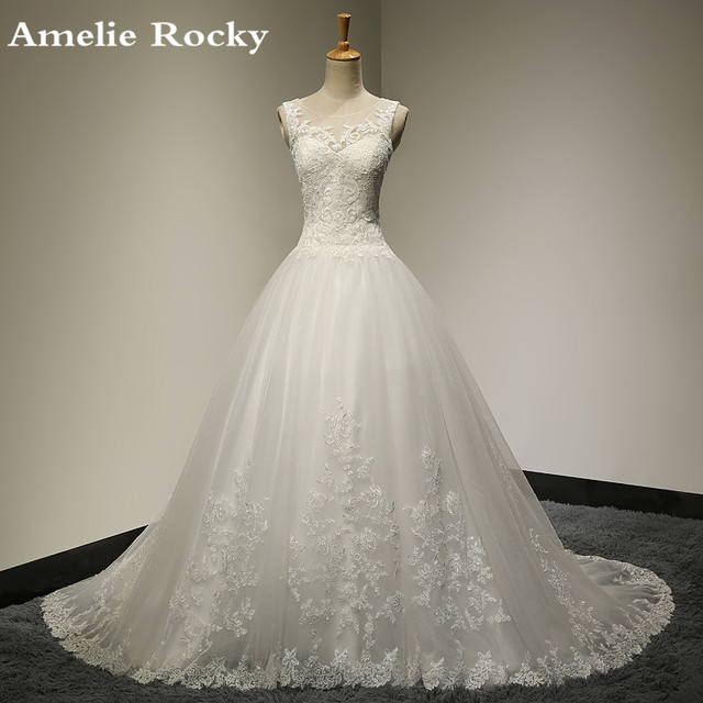 Vestido De Noiva De Renda Vestido de Casamento Da Princesa Do Laço Do Vintage vestido de Baile Vestido de Noiva Robe De Mariage 2017 vestido de Casamento